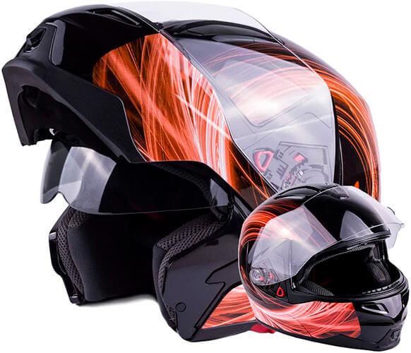 Typhoon G339 Dual Visor Modular Full Face Snowmobile Helmet