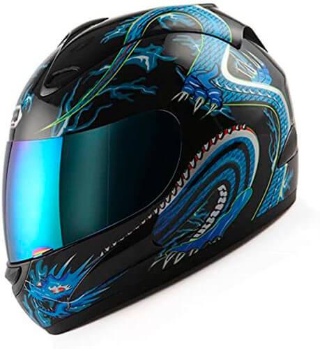 WOW Motorcycle Full Face Helmet Street Bike Blue Dragon Black